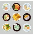 Thai food icons set vector image