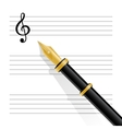 Musical staff clef and pen vector image vector image