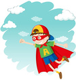Boy dressing up as superhero flying vector image