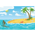 surfer girl in water vector image vector image
