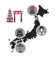 japan map landmark tourism icons vector image