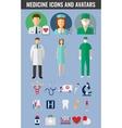 Medicine icons and avatars set vector image