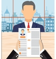 Recruiters hands holding cv in office vector image
