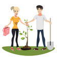 woman and man planting a tree vector image