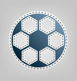 soccer ball sign  blue icon with outline vector image