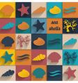 vintage seashell flat card vector image vector image