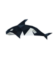 origami orca dolphin isolated on white background vector image