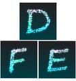 glow font D E F vector image