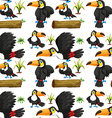 Seamless toucans and wooden log vector image vector image