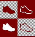 boot sign bordo and white icons and line vector image