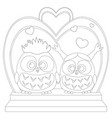 cute baby owl in love black and white wedding vector image
