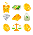 Gold Money and Financial Icons vector image