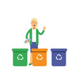 happy woman standing near trash containers with vector image