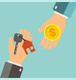 real estate concept agent holding a key for home vector image