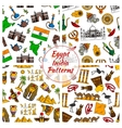 Egypt and India culture patterns vector image