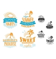 Summer travel and vacation badges vector image