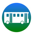 bus simple sign white icon in bluish vector image