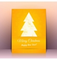 Yellow Greeting card background with Cristmas tree vector image