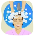 young man getting his hair washed in hair salon vector image