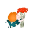 Middle Age Happy Woman with Flowers vector image