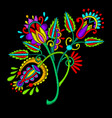 ethnic embroidery flower design on black vector image