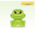 Cute cartoon green frog funny animal vector