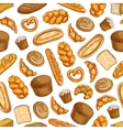 Bakery fresh baked bread seamless sketch pattern vector image