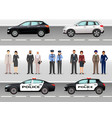 set of two civil vehicles two police cars male vector image