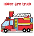 Transport of ladder fire truck cartoon vector image