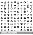 100 children icons set simple style vector image