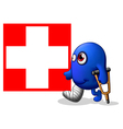 An injured monster near the red cross signage vector image