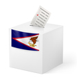 Ballot box with voting paper American Samoa vector image