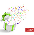 Open Giftbox with Confetti Background vector image
