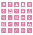 Flat square icons wedding vector image vector image