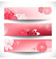 Red Floral Banner Set vector image