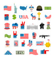 American icon set national sign of america usa vector image