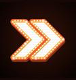 arrow billboard retro light frames theater sign vector image