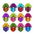 big set with coloring gift boxs vector image