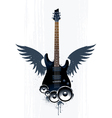 Black guitar with speakers vector image