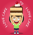 happy woman carrying big piece of chocolate cake vector image