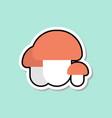 mushroom sticker on blue background colorful vector image
