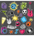 Music party kawaii sticker set Musical vector image