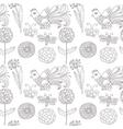 birds flowers seamless pattern vector image