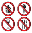 no eating no food allowed sign set vector image