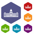 palace of congress  argentina icons set hexagon vector image