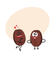 Two funny coffee bean characters showing love vector image