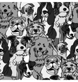 Group dogs seamless pattern gray scale vector image vector image