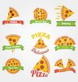 Pizza flat vintage label vector image