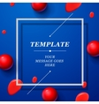 Abstract blue template with red drops spheres vector image