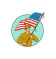 american soldier waving usa flag circle drawing vector image